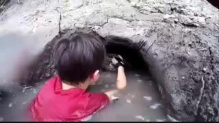 شکار گربه ماهی با دست خالی توسط پسر بچه