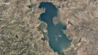 روند نابودی دریاچه ارومیه طی سال های ١٩٨٤ تا ٢٠١٦