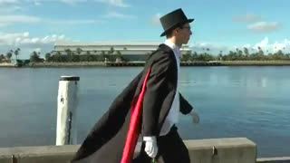tuxedo mask from Sailor Moon is handing out flowers to random people on Valentine's Day in Newcastle