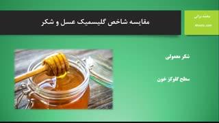 مقایسه شاخص گلیسمیک (GI) عسل و شکر (آهوتا)