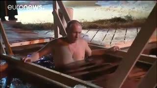 فرو رفتن ولادیمیر پوتین در دریاچه یخ