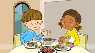 آموزش زبان انگلیسی برای کودکان به روش singsing : آموزش با شعر Help yourself. Do you want some more? (At the table)