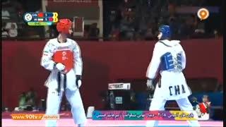 فینال تکواندو آسیایی: پیروزی میرهاشم حسینی برابر حریف چینی در وزن ۶۳- کیلوگرم