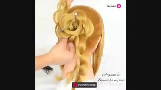 آموزش شینیون مو به شکل گل