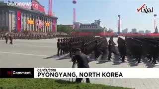 رژه نیروهای مسلح مقابل «کیم جونگ اون» در سالگرد تاسیس کره شمالی