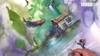 نقاشی آبرنگ هنرمند کره ای