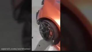 تصادف تنها لامبورگینی اوراکان ایران در کیش