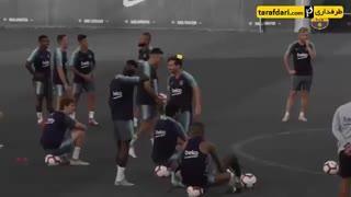 تمرین شوت زنی بازیکنان بارسلونا