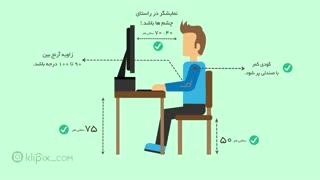 موشن گرافیک - طرز نشستن صحیح پشت کامپیوتر
